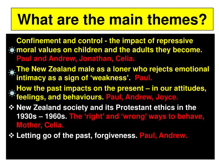 What are the main themes?