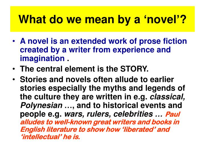 What do we mean by a 'novel'?