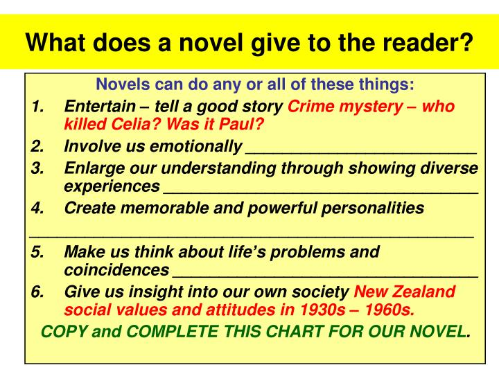 What does a novel give to the reader?