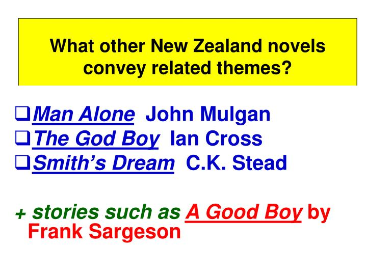 What other New Zealand novels convey related themes?