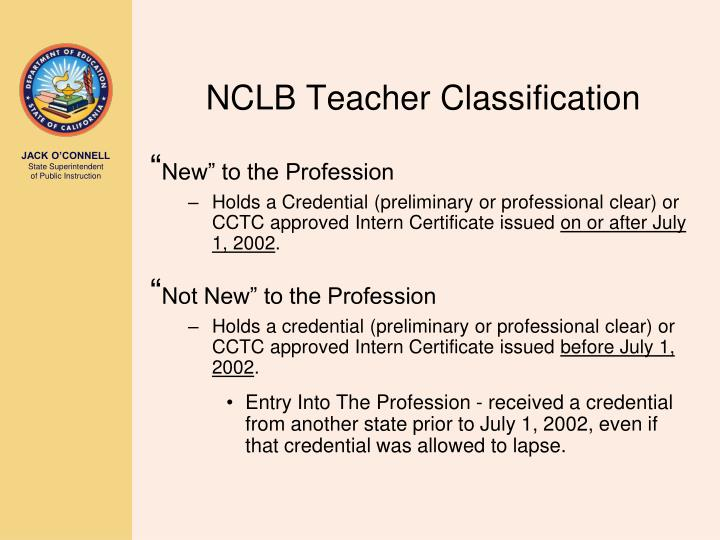 NCLB Teacher Classification