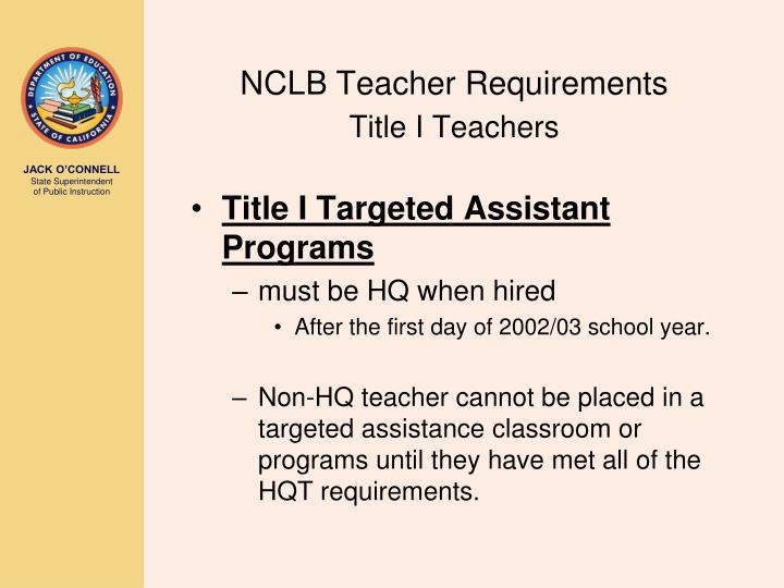NCLB Teacher Requirements