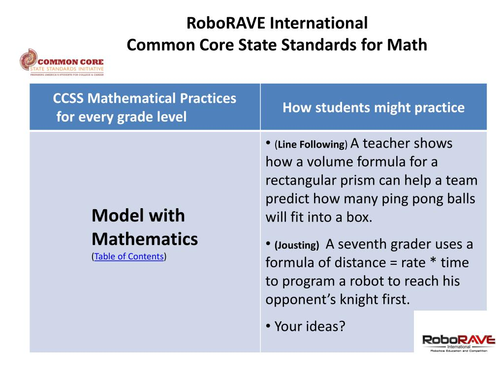 PPT - Common Core State Standards Math & Robotics Connections Ver