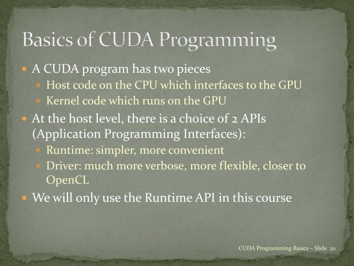 Basics of CUDA Programming