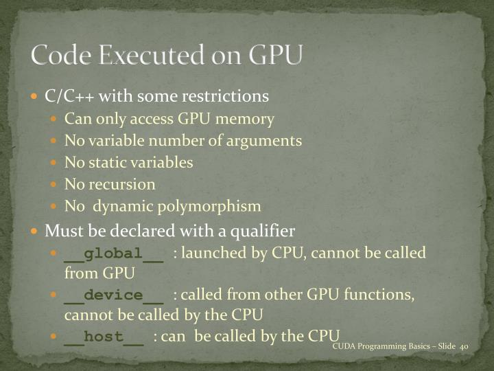 Code Executed on GPU