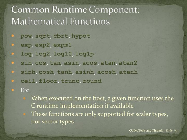 Common Runtime Component: Mathematical Functions