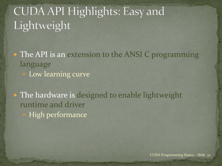 CUDA API Highlights: Easy and Lightweight