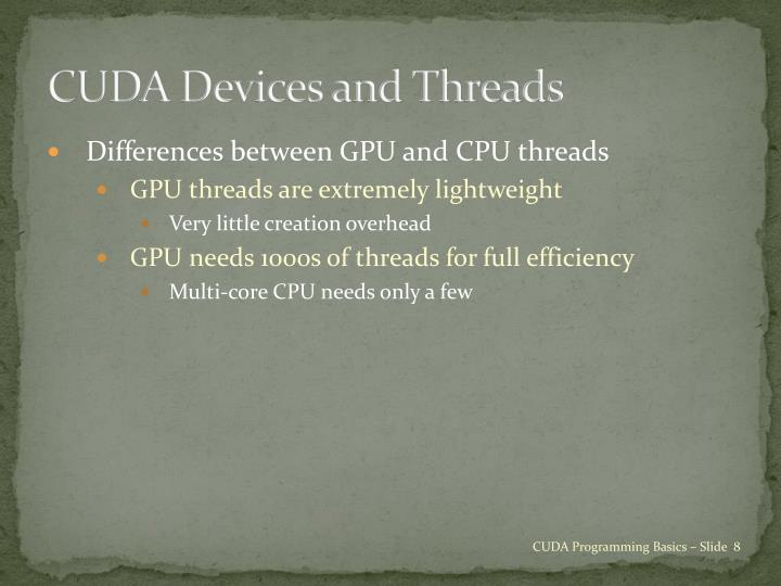 CUDA Devices and Threads