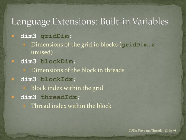Language Extensions: Built-in Variables
