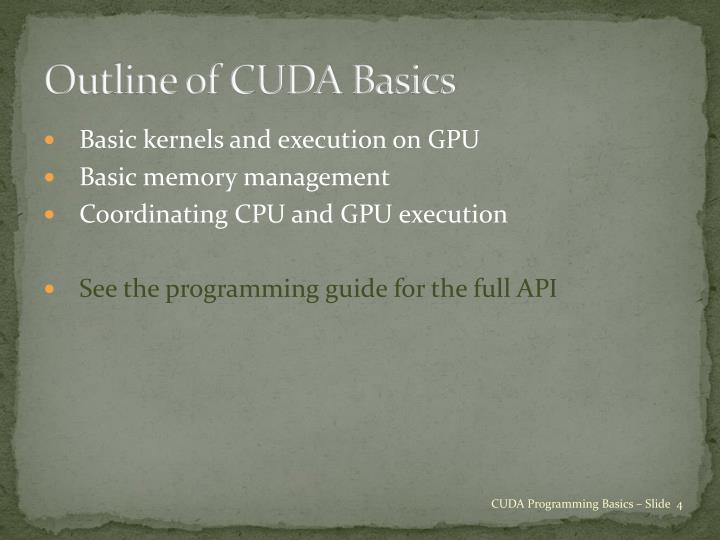 Outline of CUDA Basics