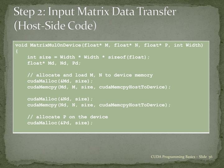 Step 2: Input Matrix Data Transfer