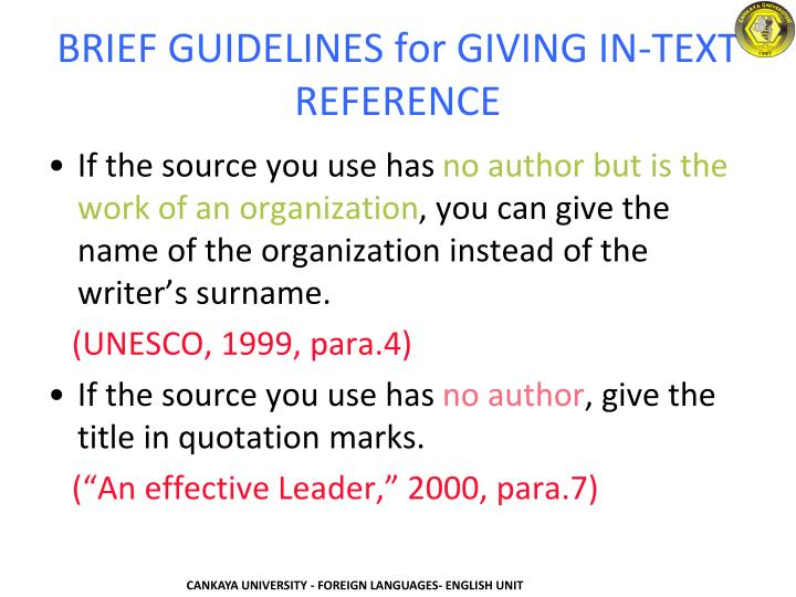 BRIEF GUIDELINES for GIVING IN-TEXT REFERENCE