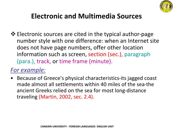 Electronic and Multimedia Sources