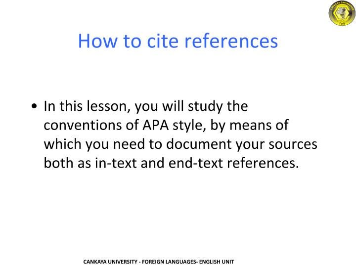 How to cite references