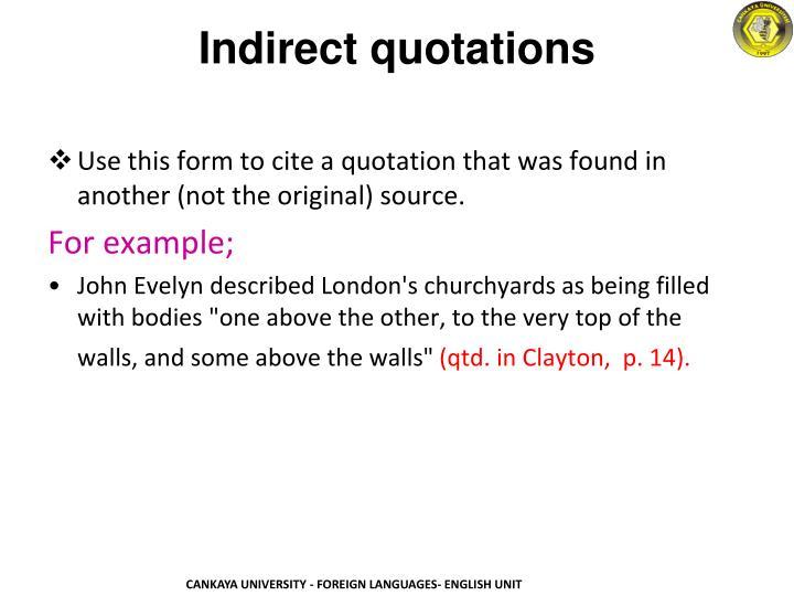 Indirect quotations