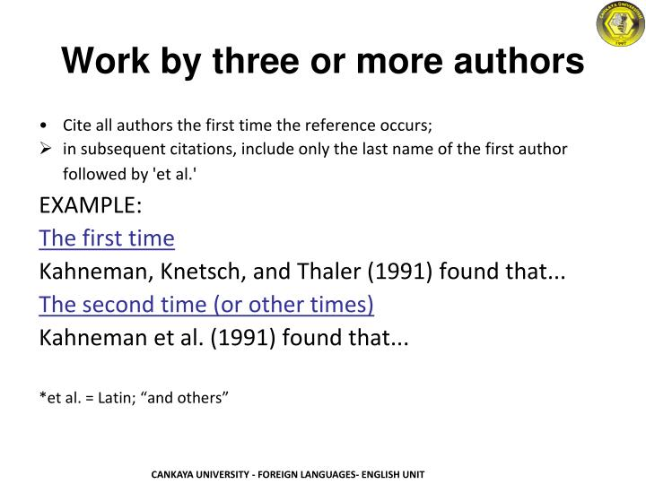 Work by three or more authors