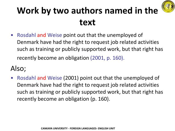 Work by two authors named in the text