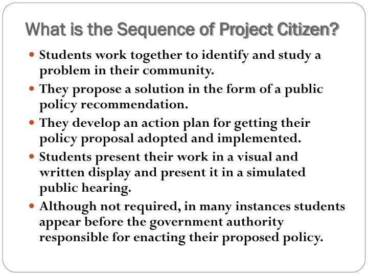 What is the Sequence of Project Citizen?