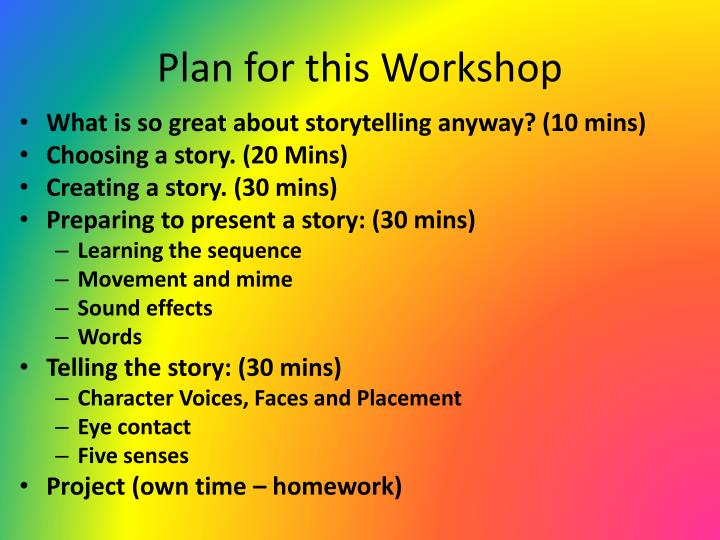 Plan for this workshop