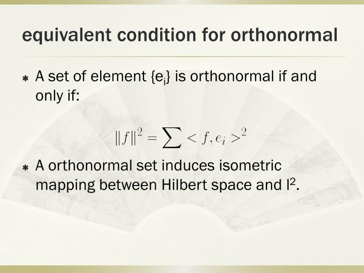 equivalent condition for