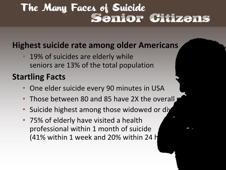 Highest suicide rate among older Americans
