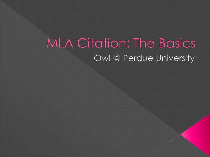 mla citation the basics