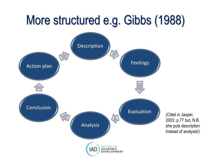 More structured e.g. Gibbs (1988)