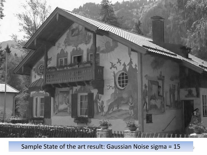 Sample State of the art result: Gaussian Noise sigma = 15