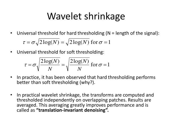 Wavelet shrinkage