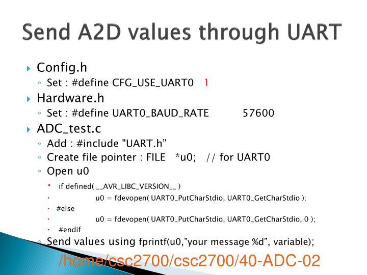 Send a2d values through uart