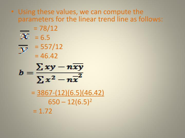 Using these values, we can compute the parameters for the linear trend line as follows: