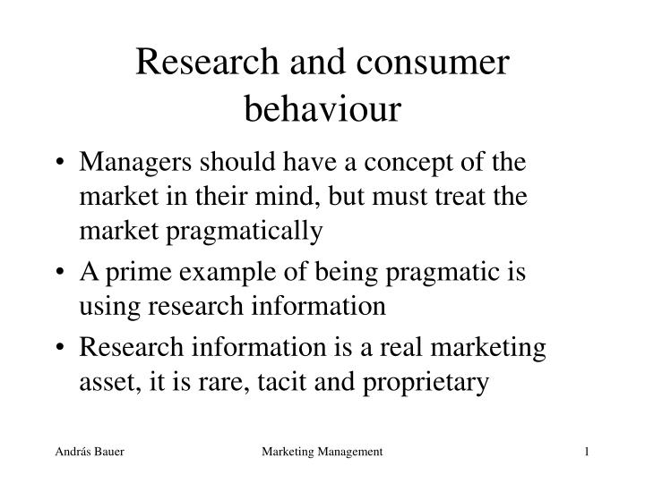 research and consumer behaviour n.