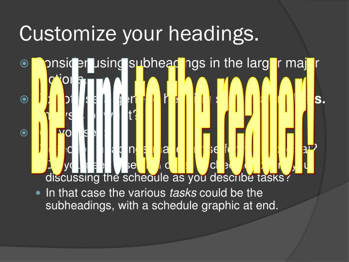 Customize your headings.