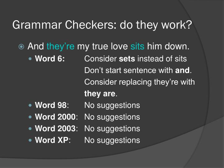 Grammar Checkers: do they work?