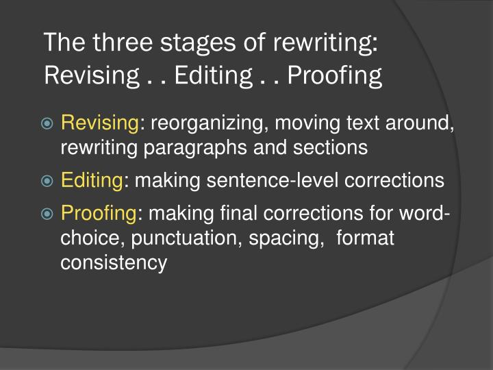 The three stages of rewriting revising editing proofing