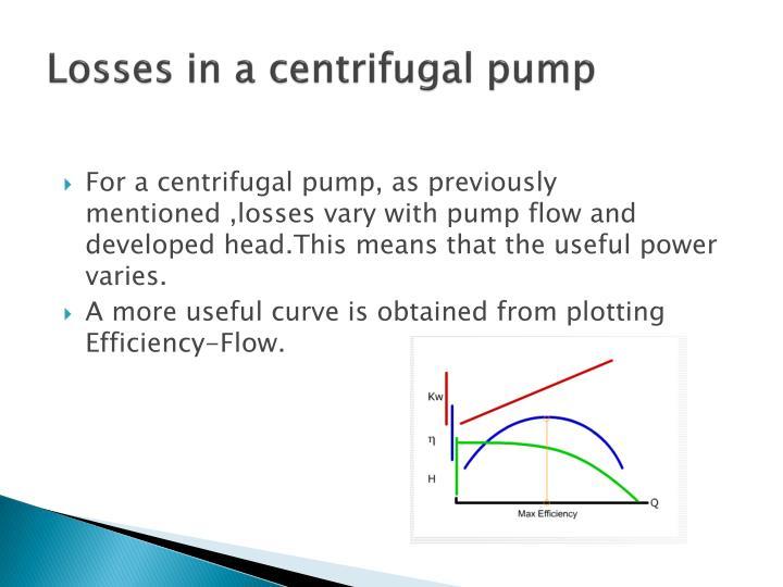 Losses in a centrifugal pump