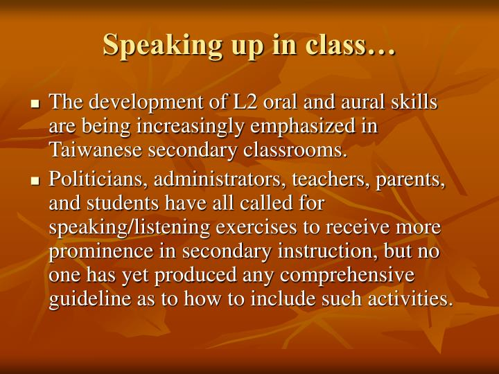 Speaking up in class…