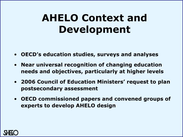 Ahelo context and development