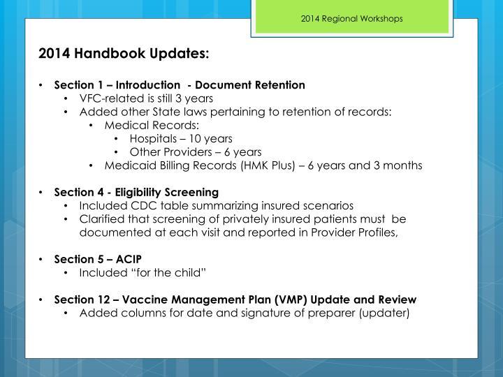 2014 Handbook Updates: