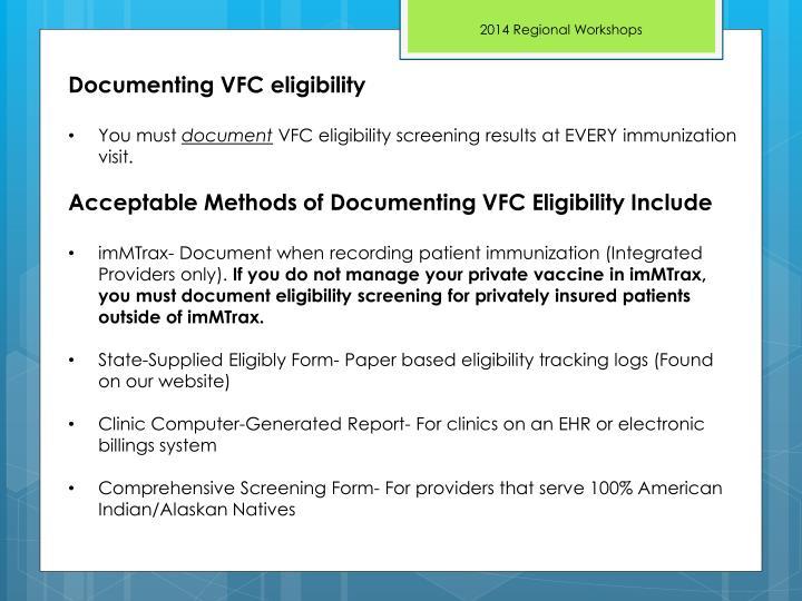 Documenting VFC eligibility