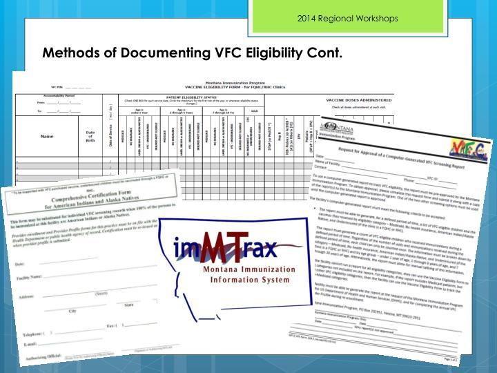 Methods of Documenting VFC Eligibility Cont.