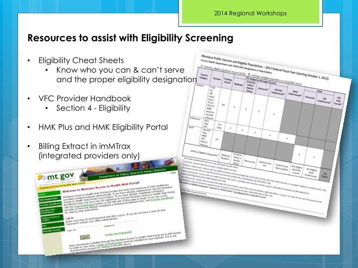 Resources to assist with Eligibility Screening
