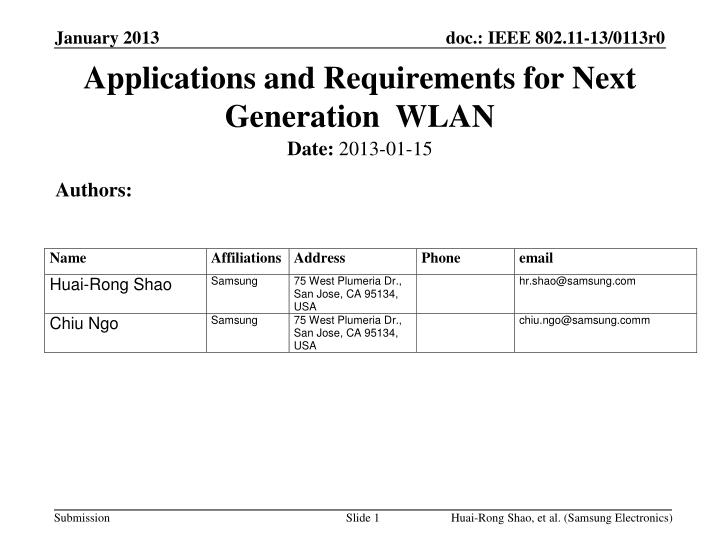 applications and requirements for next generation wlan n.