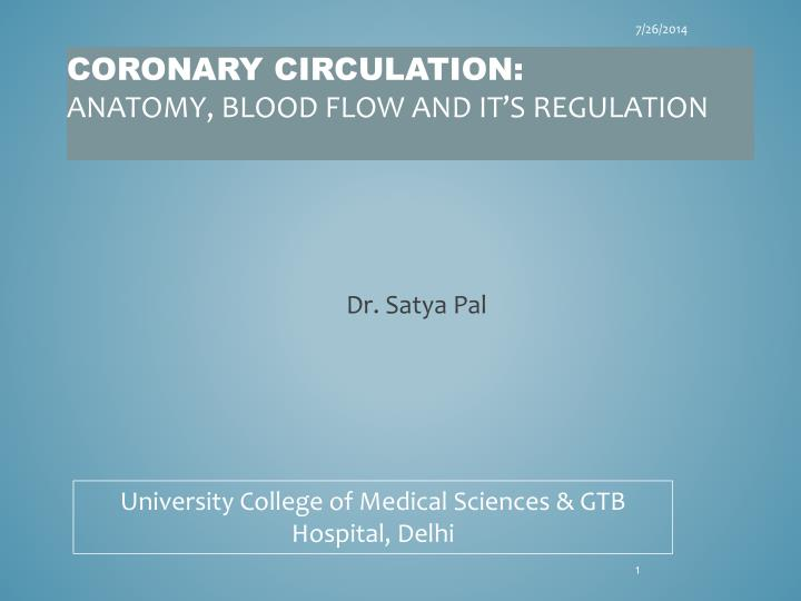 PPT - Coronary circulation: anatomy, blood flow and it's