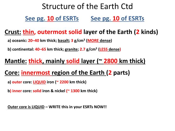 Structure of the Earth Ctd