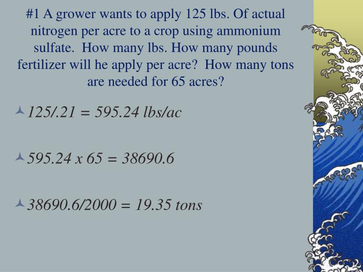 #1 A grower wants to apply 125 lbs. Of actual nitrogen per acre to a crop using ammonium sulfate.  How many lbs. How many pounds fertilizer will he apply per acre?  How many tons are needed for 65 acres?