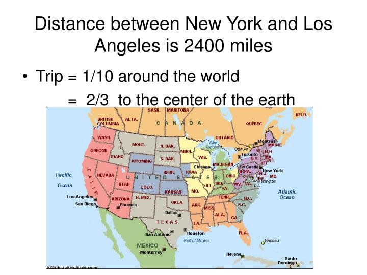 Distance between New York and Los Angeles is 2400 miles