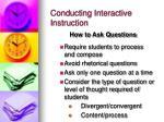conducting interactive instruction
