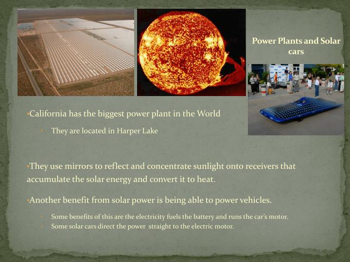 Power plants and solar cars