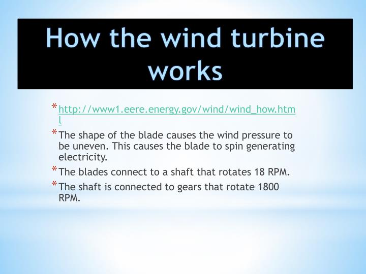 How the wind turbine works